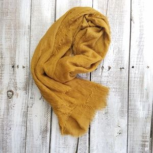 Aldo scarf mustard yellow brown fringe  78 by 32""